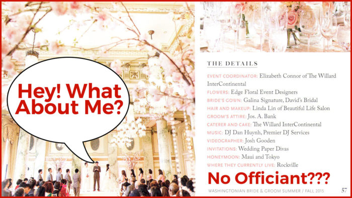 A Wedding Magazine Didn't Mention the Officiant – What Can I Do?